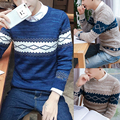 Men's sweaters 2016 men's round neck pullover sweater mixed colors Gentleman sweaters fashion new style