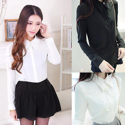 ჱkorean Fashion Women Chiffon Tops Long Sleeve Button Down Shirt