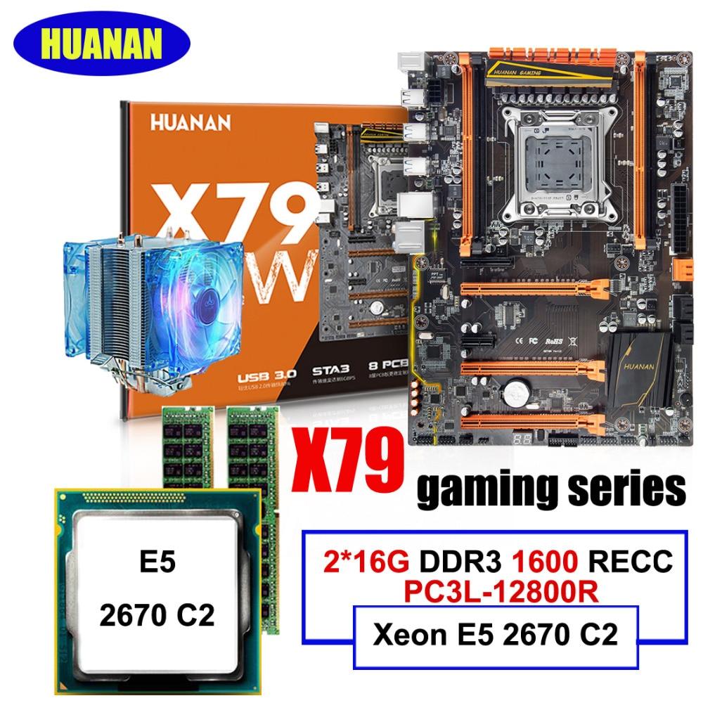 NHUANAN Deluxe X79 LGA2011 Gaming Motherboard CPU RAM Combos Xeon E5 2670 C2 With CPU Fan RAM 32G(2*16G) DDR3 1600MHz RECC