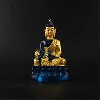 Clay Gold High Imitate Colored Glass Pharmacist Buddha Statue,13.5cm Tranic Tibetan Rulai Small Medicine Buddha Resin Sculpture