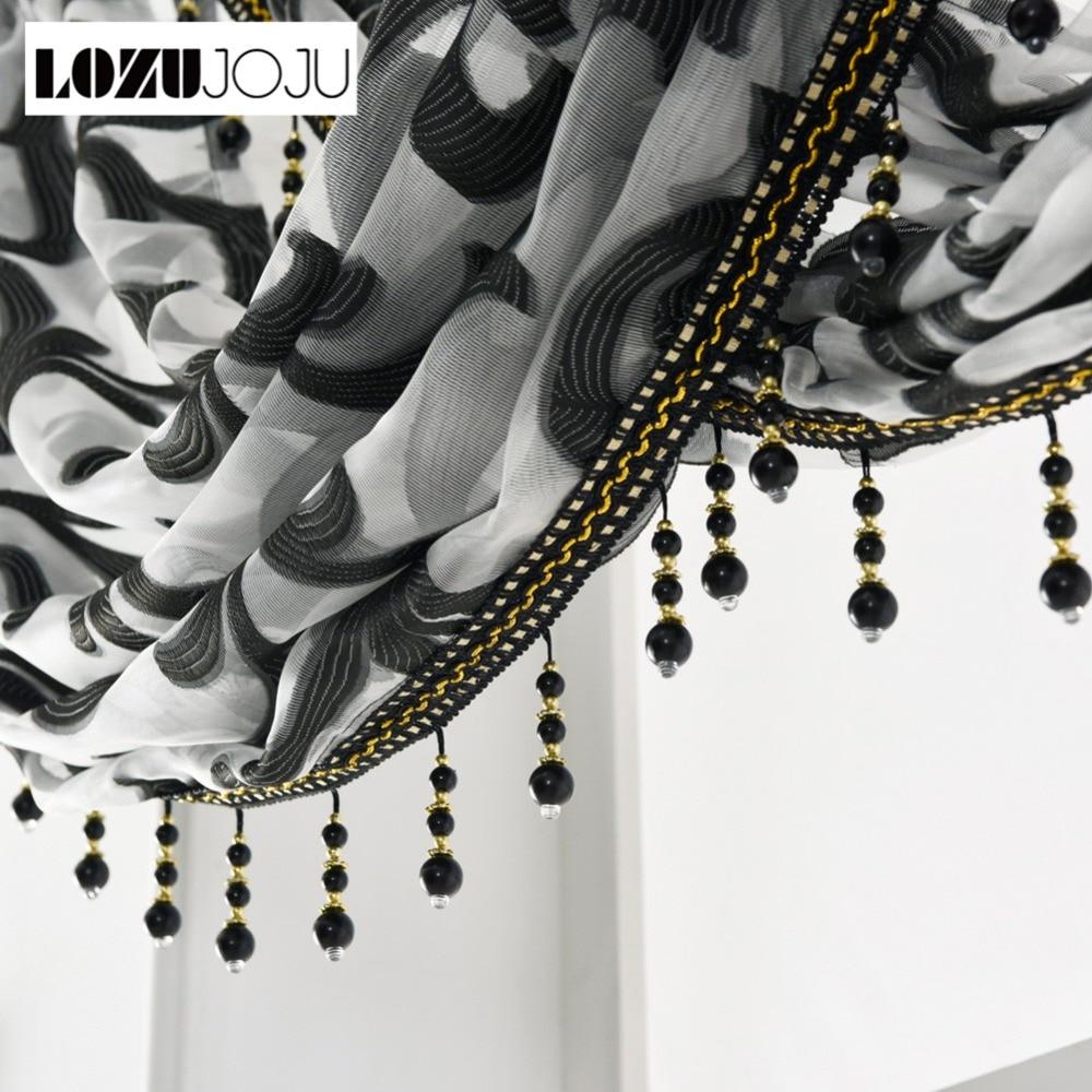 LOZUJOJU Rustic Stripe Jacquard Curtains Short Roman Drops For Kitchen Windows Decor Tulle Fabric Valance Black Set All Match
