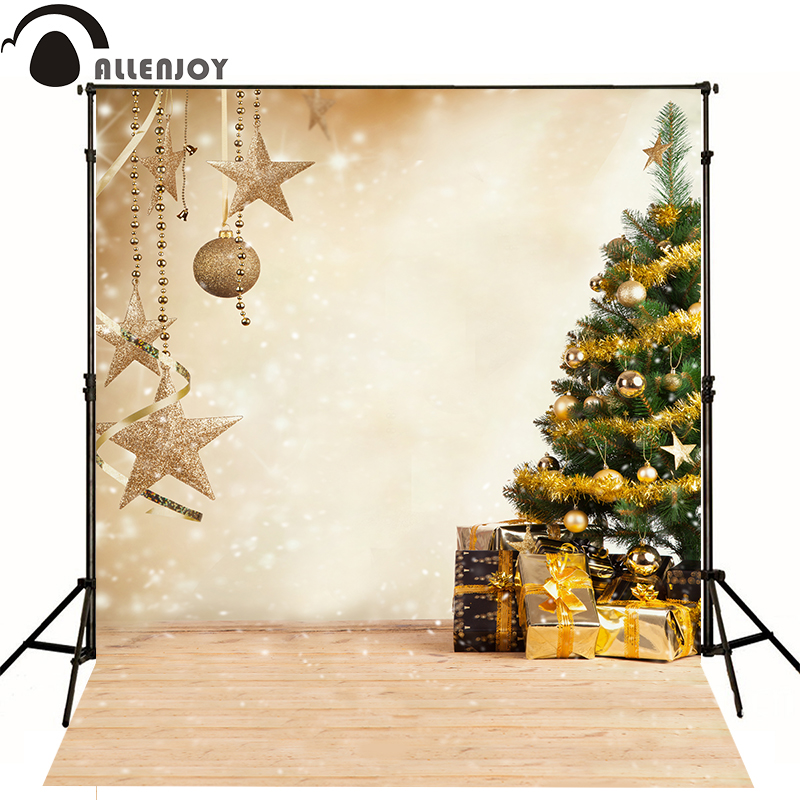 Allenjoy photography Background Christmas tree golden gifts glitter bokeh backdrops photobooth photo studio photocall allenjoy photo backdrops christmas tree bokeh wooden floor photography backgrounds photocall photographic photo studio