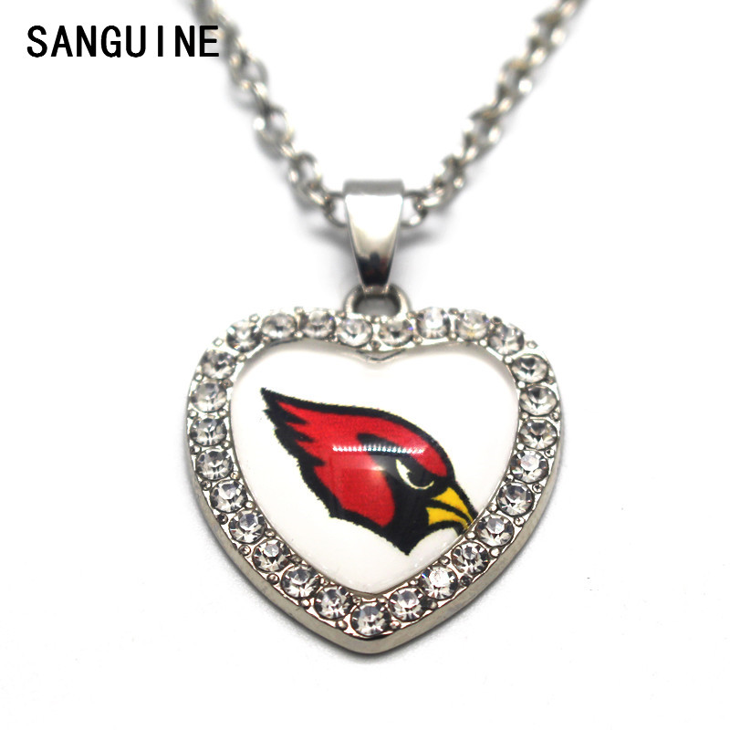 1pcs Arizona Cardinals Crystal Sports Print Glass Silver Heart Pendant Necklace 50cm Alloy Chains For Women Necklace Jewelry