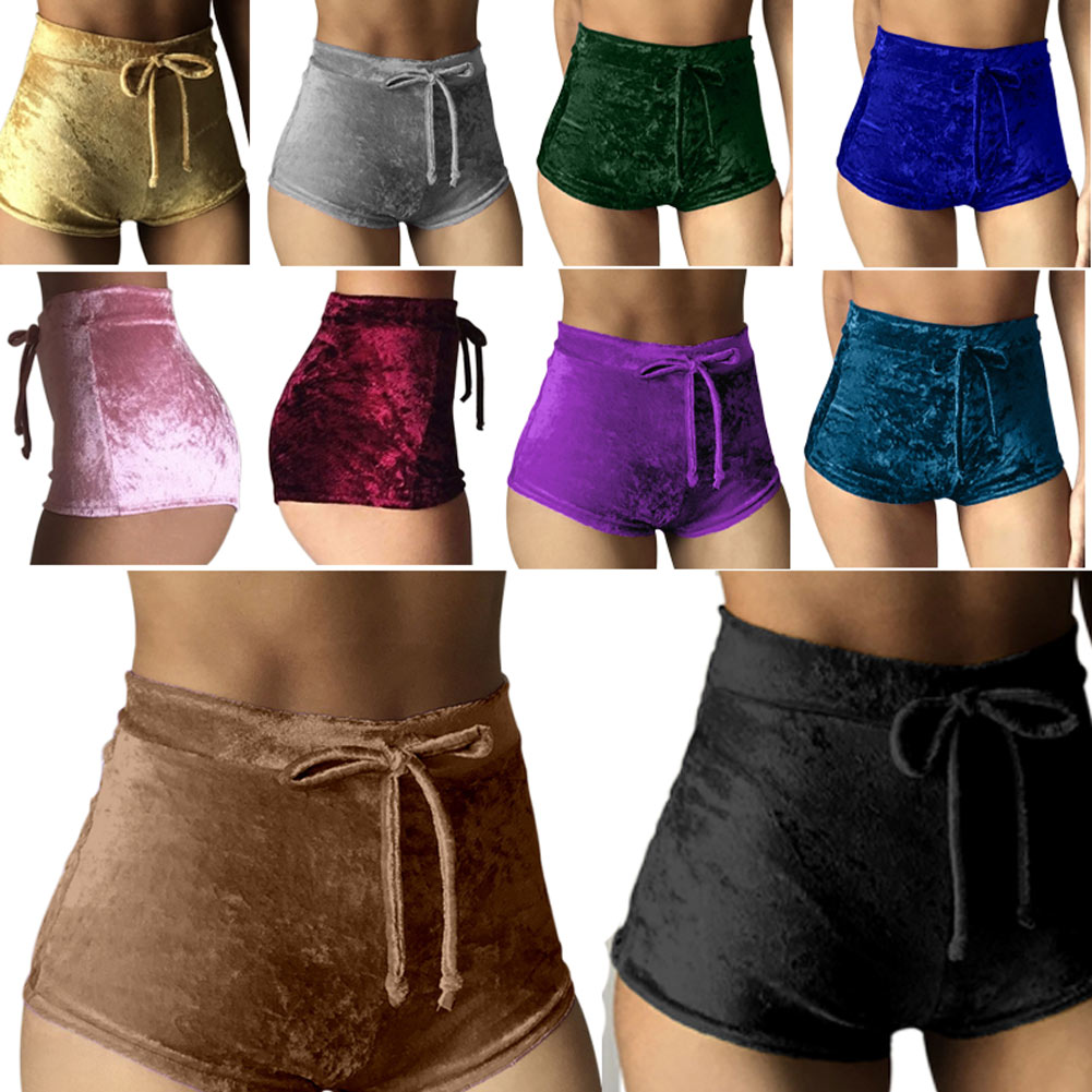 New 2019 S-XL women   Shorts   velvet drawstring   shorts   plus size casual high waist Summer sexy Silk skinny booty   shorts   feminino