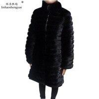 Linhaoshengyue Length 90CM , real natural mink fur coat, long sleeved, intervening leather 3:2