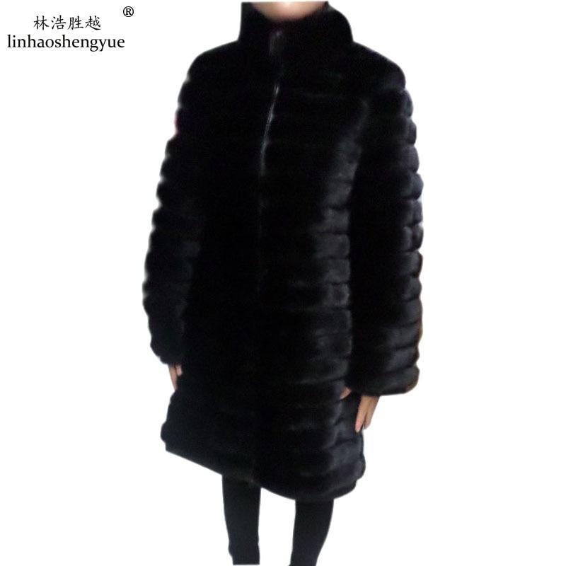 Linhaoshengyue longitud 90 cm o 85 cm, abrigo de piel natural verdadero del visión, manga larga, intervenir cuero 3:2