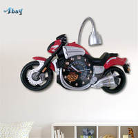 Мультяшные мотоциклетные Часы светодиодный настенный светильник для учебы, кухни, бара, креативное украшение для гостиной, ар деко, детская