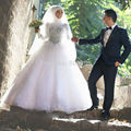 Luxuoso Vestido De Casamento Muçulmano Disse Mhamad 2017 Sparking Cristais Strass Manga Longa Bola Vestido de Noiva Vestido de Casamento Vestido de noiva