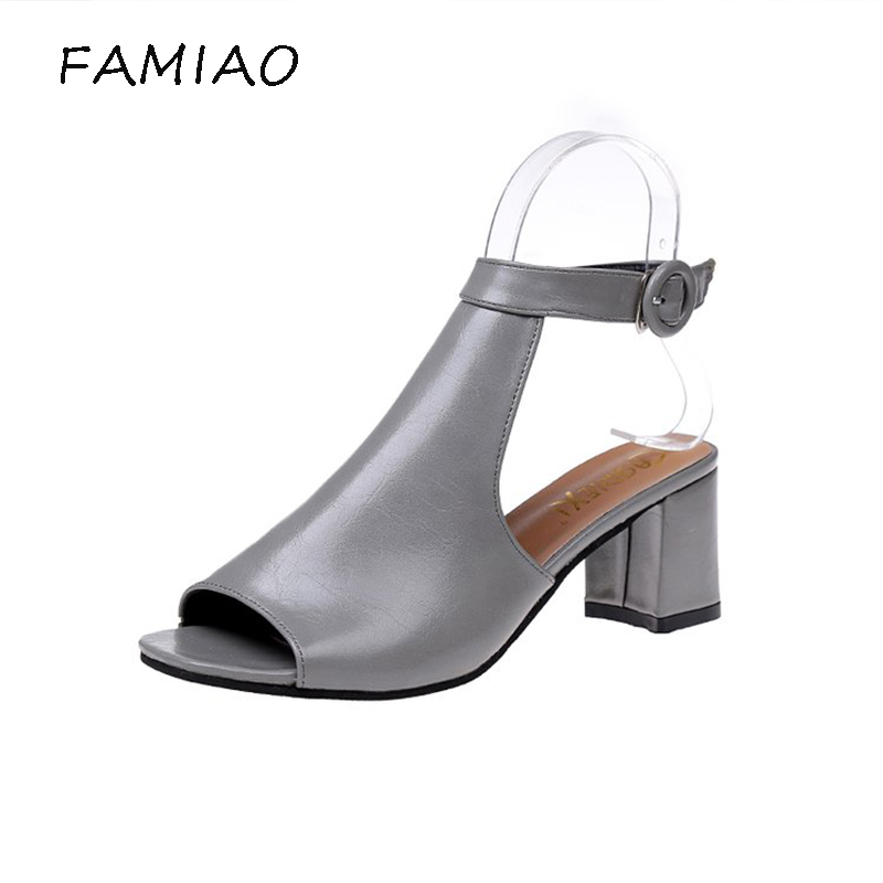 FAMIAO 2018 thick heel sandals women summer comfortable med heels open toe fashion pumps shoes woman casual sandalias mujer new women sandals low heel wedges summer casual single shoes woman sandal fashion soft sandals free shipping