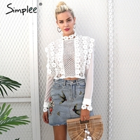 Simplee Sexy White Lace Flower Blouse Shirt Hollow Out Mesh Transparent Blouse Blusas Women Long Sleeve
