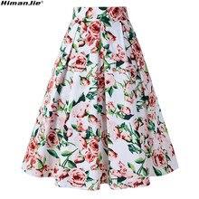 310d358a99 Vintage Retro Floral impresión faldas Womens alta cintura plisada  Rockabilly Audrey Hepburn estilo Saias Midi Swing
