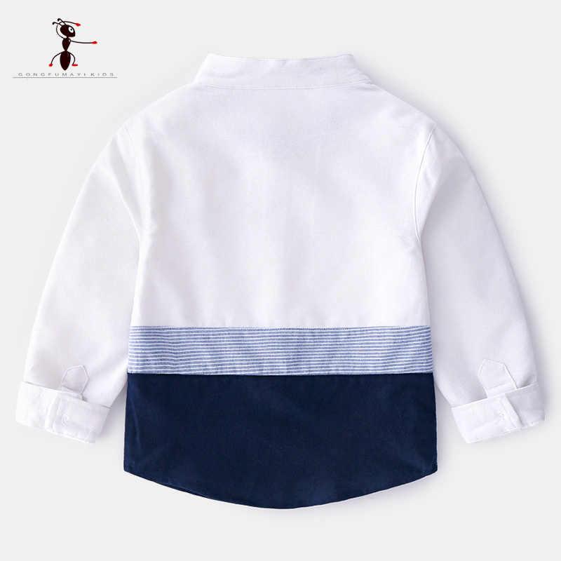 2019 Kung Fu Ant смешанные Цвет рубашки для мальчиков Европейский Стиль, синий цвет розовый длинный рукав Повседневное Turn-0down Воротник Детские рубашки 1907