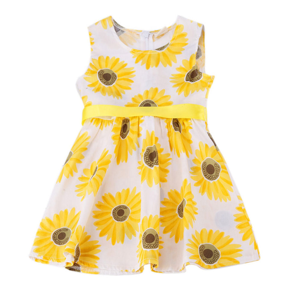 Summer Baby Kids Dresses for Girls Girl Clothes Princess Party Wedding Dress Sleeveless Flower Printed Children Clothing 014345 baby girls summer cotton princess top quality kids sleeveless dress children wedding party clothes girl christmas prom dress