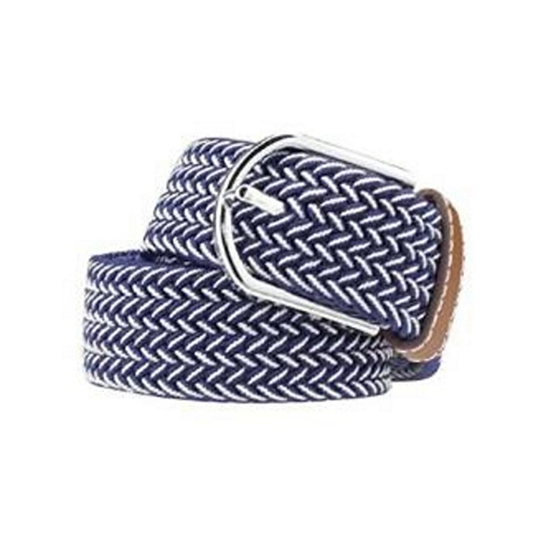 Men Casual Canvas Belt Elastic Rubber Concise Belt Metal Buckle Belt Blue White