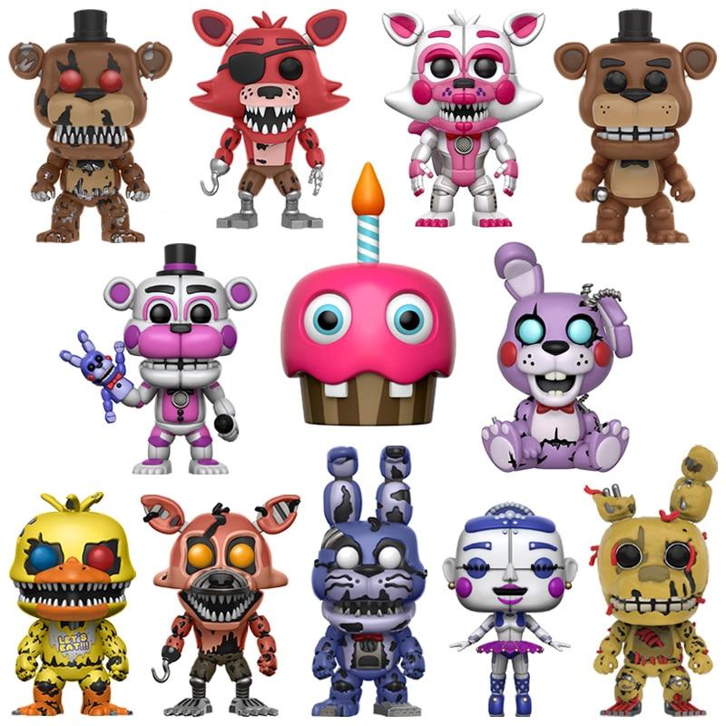 6PCS/Set Five Nights At Freddy's Toys PVC Action Figure FNAF Nightmare Chica Bonnie Funtime Foxy Freddy 5 Fazbear Bear Dolls