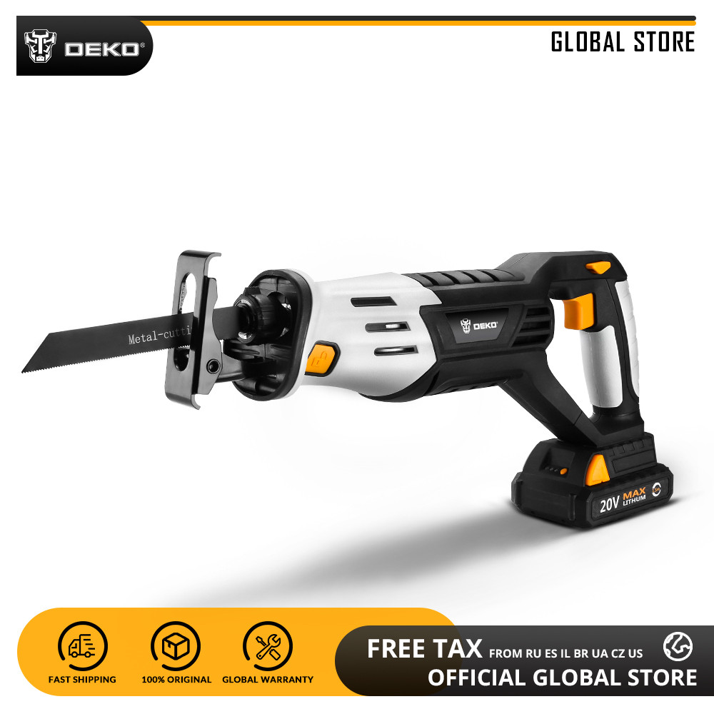 DEKO DKRS20Q2 20V Cordless Reciprocating Saw Adjustable Speed Electric Saw With Battery And 4 Pieces Blades Power Tool