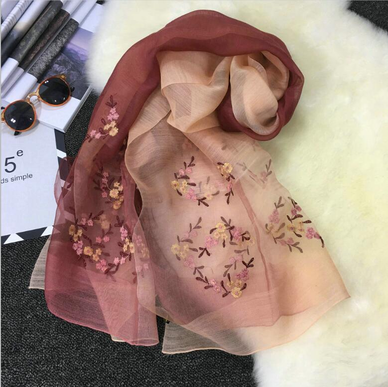 Wool Silk Scarf Women Pashmina silk fabric Wine Floral Embroidery shawls Natural Fabric Soft&Warm High Quality Free Shipping