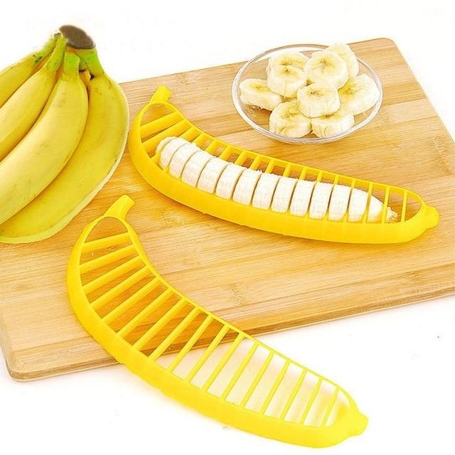 1 pc safty plastic banana slice cutter useful fruit vegetable