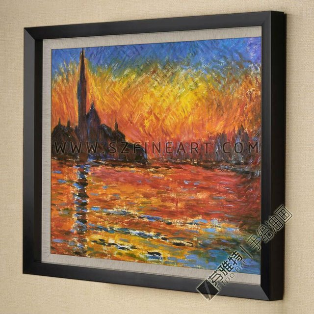 Free shipping of canvas painting in roll to most countries, Saint Georges majeur,  Impression Reproduction of Claude Monet