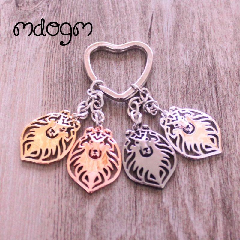Shetland Sheepdog Dog Animal Gold Silver Plated Metal Pendant Keychain For Bag Car Women Men Key Ring Heart Jewelry K094