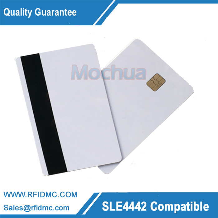 Contact SLE 4442 Chip with HICO Mag-stripe ISO7816 PVC Smart IC Card -10pcs 20pcs lot contact sle4428 chip gold card with magnetic stripe pvc blank smart card purchase card 1k memory free shipping