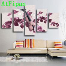 AtFipan Large HD Modular Pictures 5 Pieces Purple Flower Cuadros Decoracion Canvas Painting On The Wall Pictures For Living Room