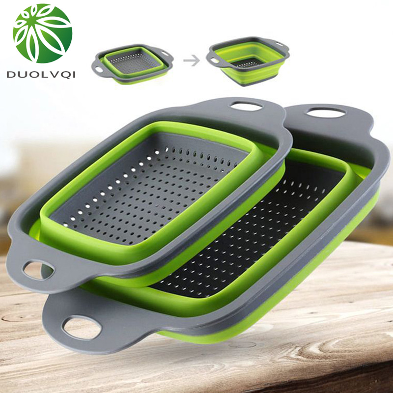 Duolvqi Foldable Fruit Vegetable Washing Basket Strainer Portabl Silicone Colander Collapsible Drainer With Handle Kitchen Tools(China)