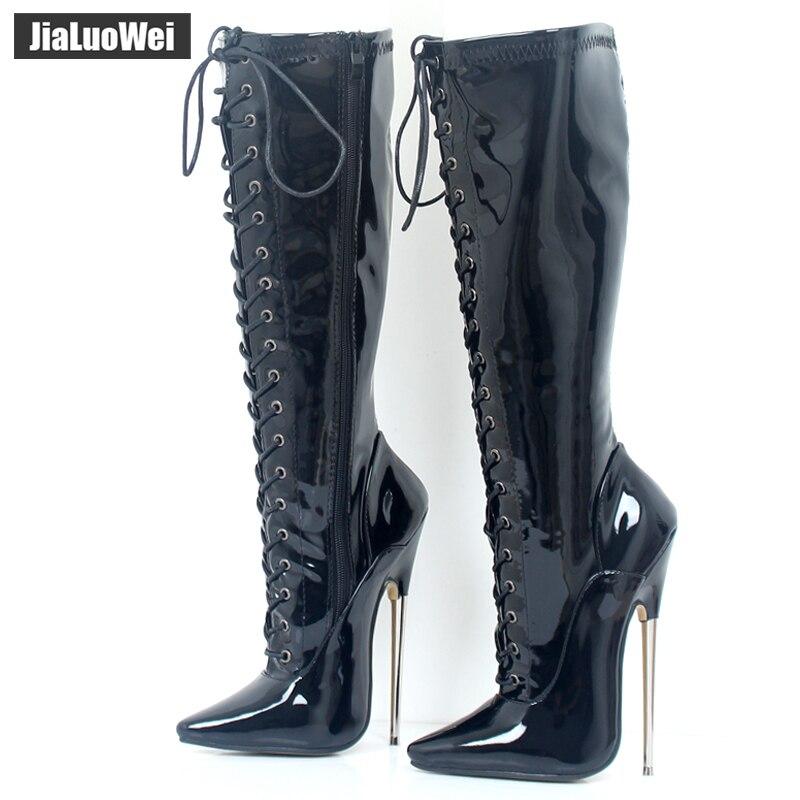 Jialuowei 18 Cm Hohe Ferse Solide Messing Exotische Fetisch Sexy Metall Dünne Ferse Stretch Lace Up Einzigen Sohlen Knie- Hohe Stiefel Plus Größe