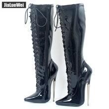 Jialuowei bottes de haut en laiton massif, fétiche exotique et Sexy, 18cm, métal, talon fin extensible, à lacets semelles simples, hautes aux genoux, grande taille
