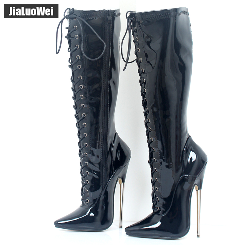 Jialuowei 18cm High Heel Massiv Messing Eksotisk Fetish Sexy Metal Tynd Hæl Stretch Lace Up Single Soles Knæ-High Boots plus størrelse