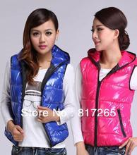 Zipper Vest down vest Women lovers design all-match glossy japanned leather Fall / winter vest Super cheap Factory shipments