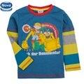 De una pieza al por menor nova niños de la marca chico camiseta de la manga completa muchachos de la ropa de los niños ropa de otoño niño de manga larga t camisa