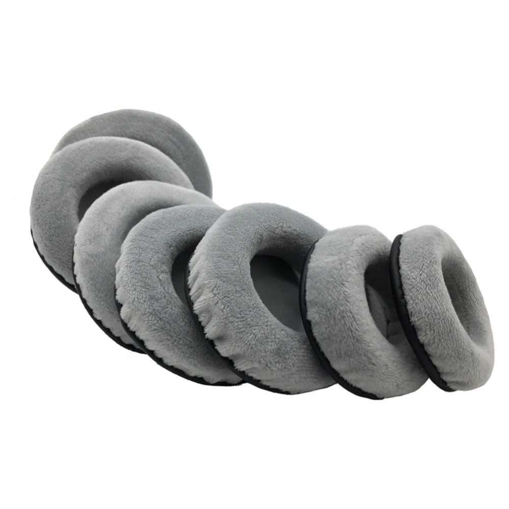 IMTTSTR 1 par de almohadillas de cuero de terciopelo universales grises almohadillas de repuesto de orejera para auriculares redondos de todos los tamaños