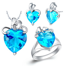 Plated NEW platinum suit 925 sterling silver set made of Sapphire Necklace half gem spot
