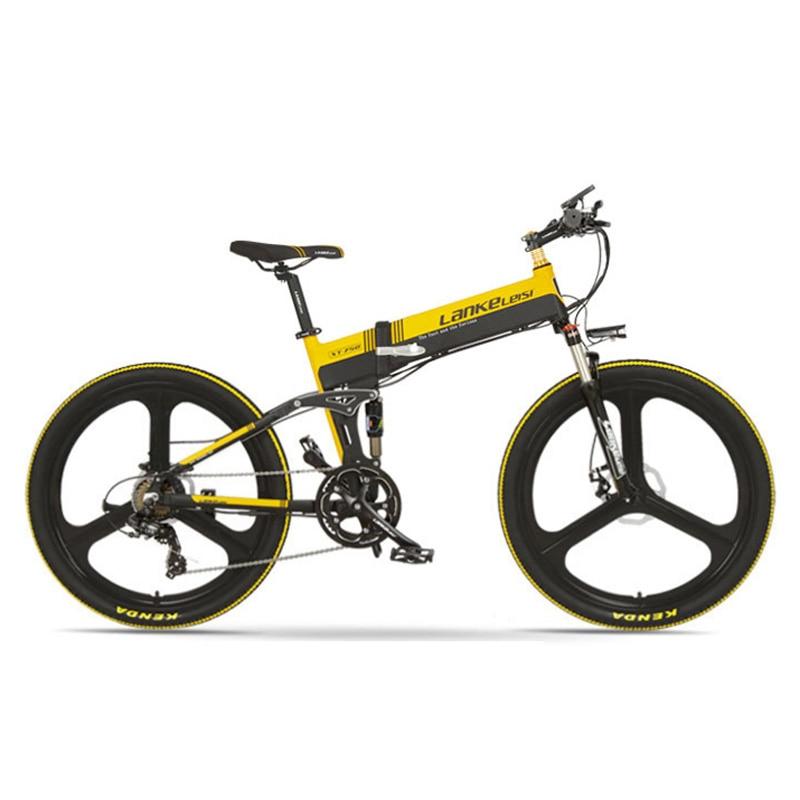 26 Inch 5 Grade Assist Electric Mountain Bike, 7 Speed Folding E-bke, 400W Motor, Dual Suspension, Mechanical Disc Brake