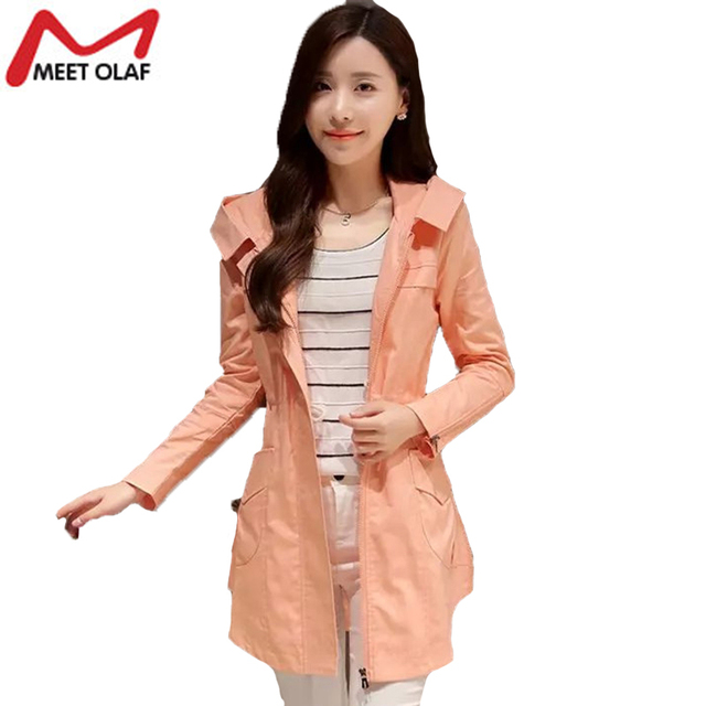 Trench Coat For Women Autumn Female Hooded Windebreaker Outwear Coat Plus Size Femininos Gabardina Mujer Trench YL643