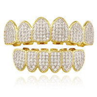 Fashion Men Jewelry Hip Hop Teeth Grillz AAA CZ Iced Out Top Bottom Dental Grills Tooth