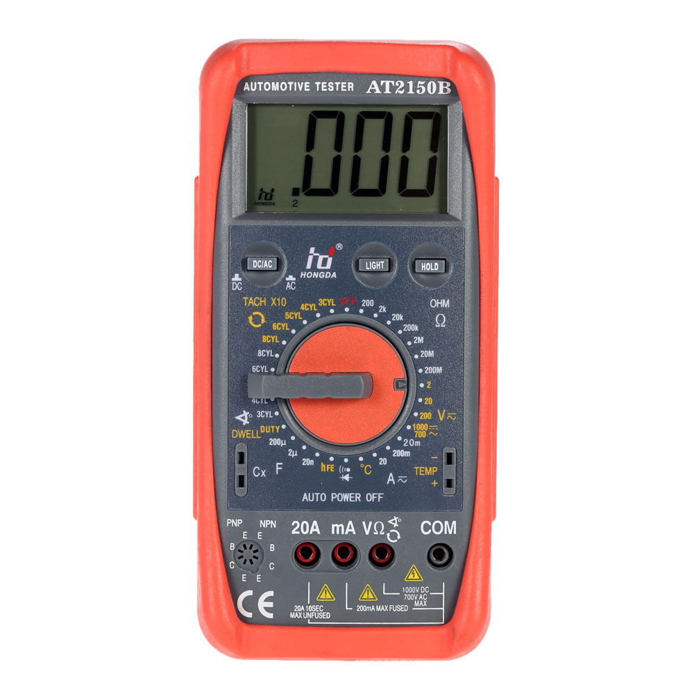 HD AT2150B Automotive Meter Tester Digital Multimeter Tachometer Cap Tester Sensor w LCD Backlight