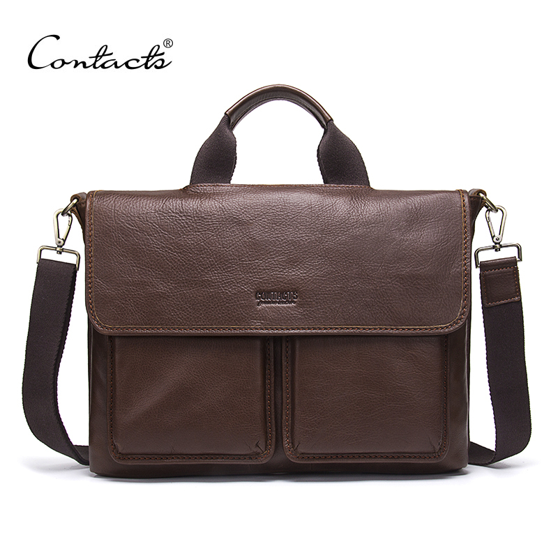 Mode classique nouveau en cuir véritable hommes serviette de luxe marque sac d'ordinateur à la mode hommes d'affaires décontracté Messenger sacs pour homme