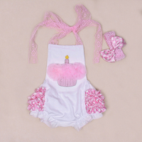 Summer Newborn Cotton Bodysuit One Piece Lace Tie With Ruffles Jumpsuit BloomersBaby Girl Infant Party Clothing
