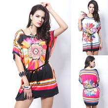 Brand Casual Fashion Print Summer Dress Tropical Quality Summer Style Vestidos De Festa Chiffon Women Dress Femininas