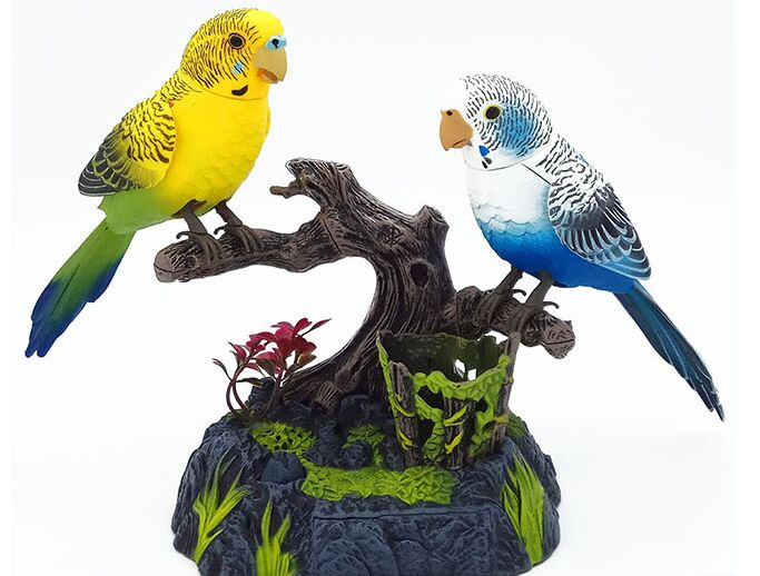 batteries operated couples birds parrots sound birdcall ornament about 18x25cm,home decoration creative toy gift a2078