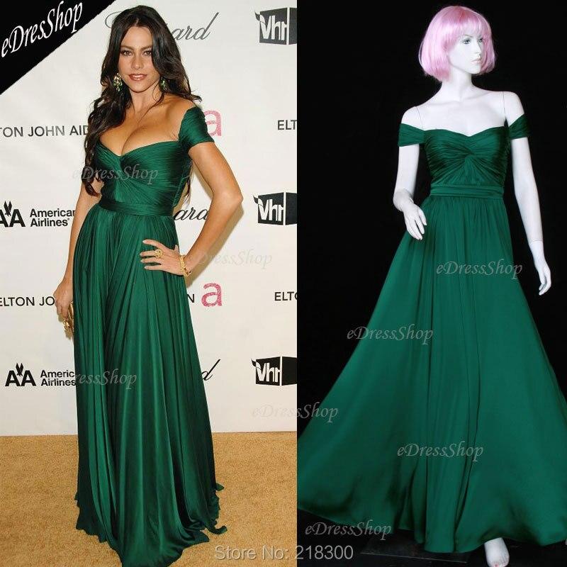 Sofia Vergara Off the shoulder Pleated Dark Green Maxi Long Prom ...