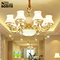 European pendant lighting glass hanging lamps for dining room modern Simple American Candle suspension lighting crystal