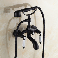 Black Finish Dual Handles Shower Faucet Set Wall Mounted Bathtub Shower Mixer Taps