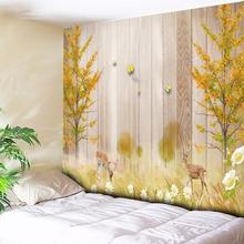 Chic Natural Scenery Print Wall Tapestry Elk Flower Wooden Grain Decorative Wall Carpet Hanging Bohemian Fabric Background Cloth