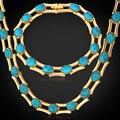 Новая Мода Бирюзовый Ожерелье Браслет Для Женщин Позолоченные Ювелирные Изделия Набор Турция Камень Ювелирных Изделий Способа NH5148