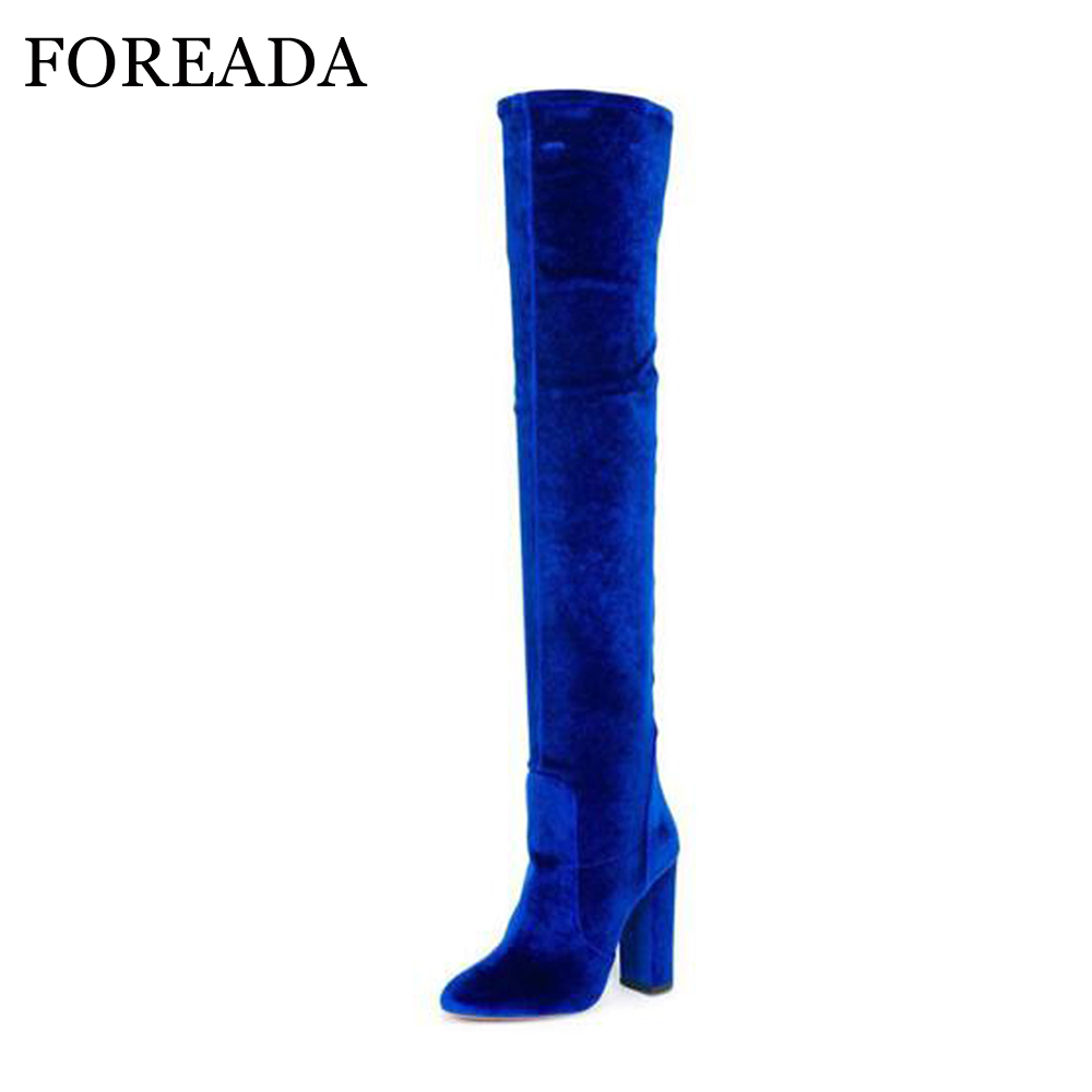 FOREADA Luxury Women Winter Boots Velvet Over Knee Boots High Heel Thigh  High Boots Autumn Zip Pointed Toe Stretch Shoe Blue Red 9c57bf2a5784