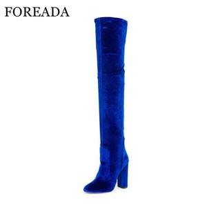FOREADA Women Winter Over Knee Boots High Heel Autumn Shoe bfd3918975a5