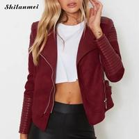 2017 S XL New Spring Fashion Bright Colors Suede Jacket Ladies Basic Street Women Short PU